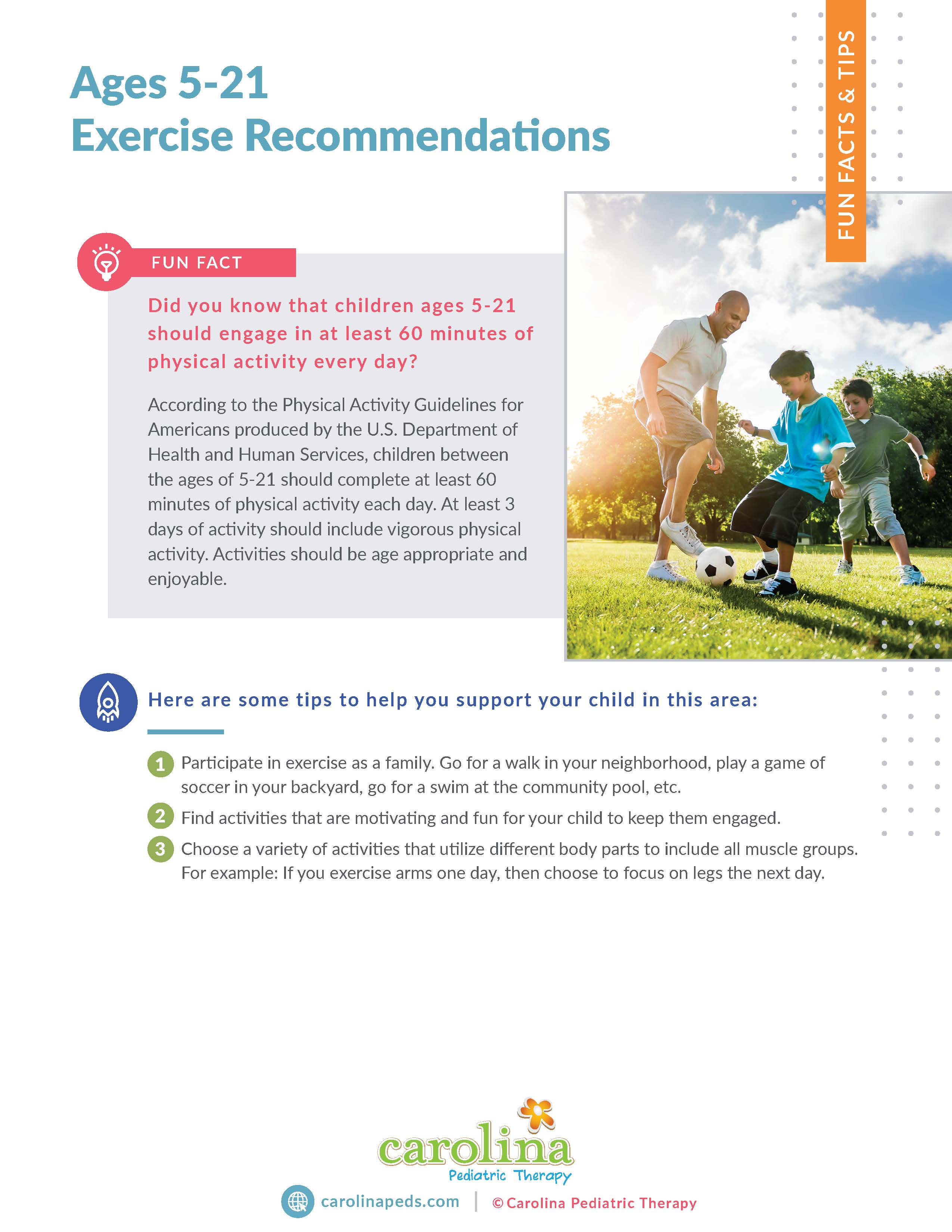 Final Version - Fact & Tips - Ages 5-21 Exercise Recommendations - Leilani Maybin, PT (1)