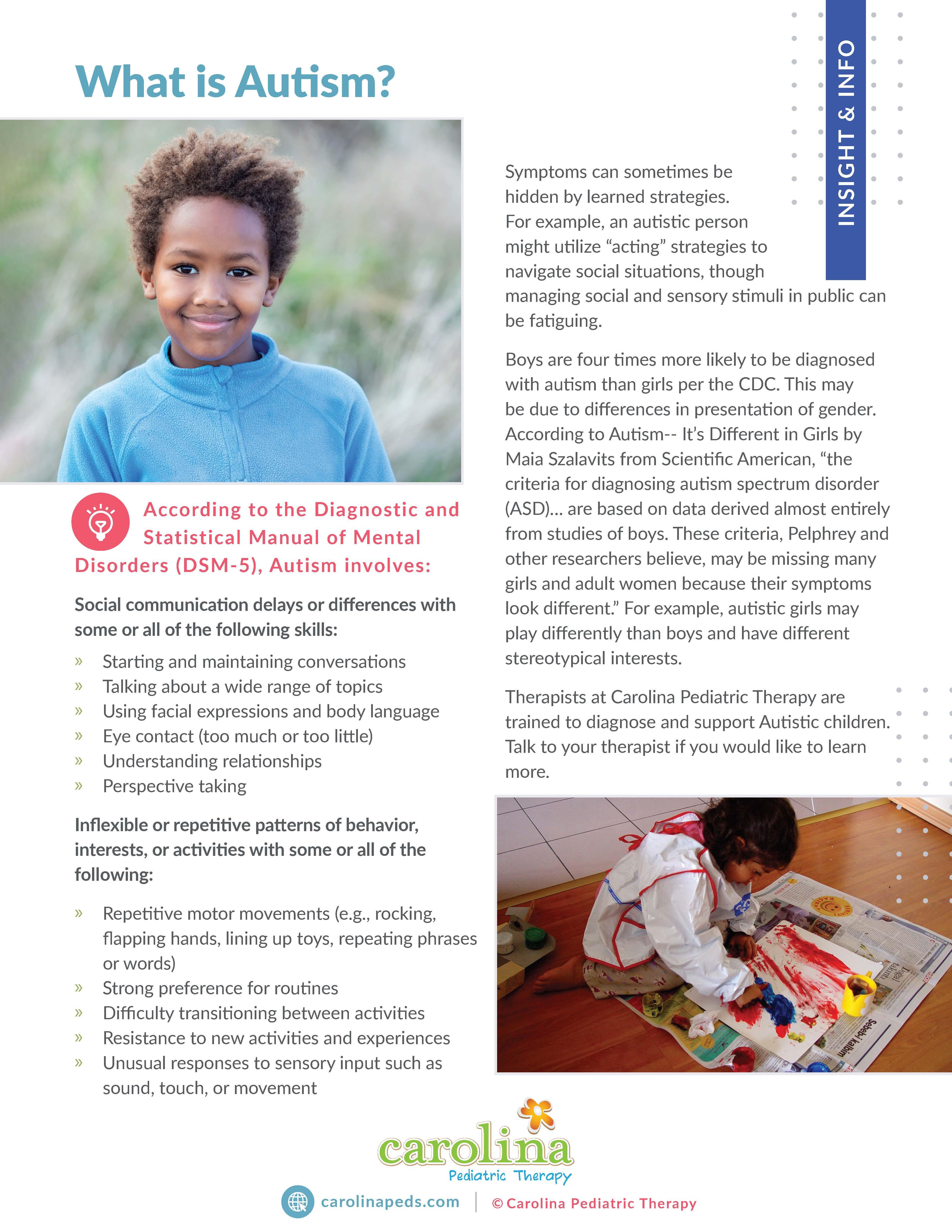 Final Version - Insights & Info - Handout - Informational - Parents - What is Autism - Michelle Fronzaglia, ST